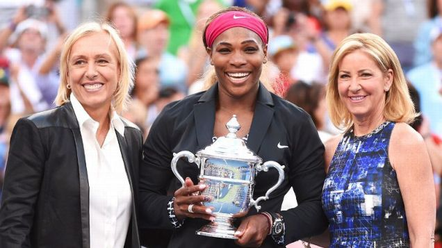 With her win over Caroline Wozniacki at the US Open, Serena Williams joined Martina Navratilova and Chris Evert with a whopping 18 Grand Slam titles apiece. Stan Honda/Getty Images