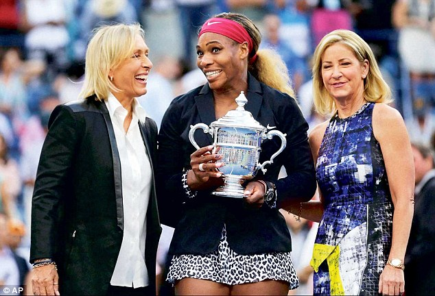 Legends: Serena Williams poses with Martina and Chris as she too claims her 18th Grand Slam Title.