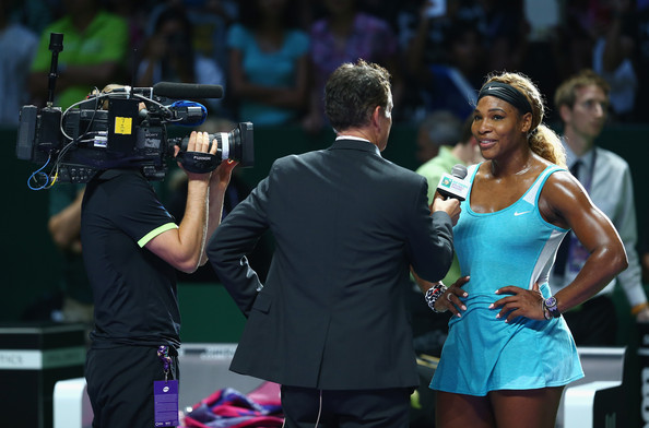 Serena Williams interviewed for television during the BNP Paribas WTA Finals in Singapore.