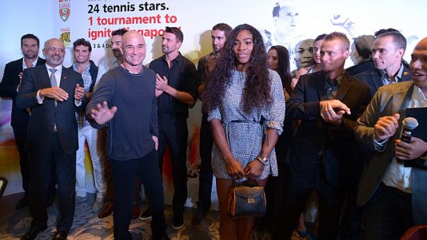 Tennis stars and lengends, among them Andre Agassi (front, left) and Serena Williams (front, right) at a private party held by DBS ahead of the kick-off of the Singapore leg of the IPTL at Shangri-La Hotel. -- ST PHOTO: DESMOND WEE - See more at: http://www.straitstimes.com/news/sport/tennis/story/tennis-andre-agassi-serena-williams-play-all-three-days-singapore-iptl-leg-2#sthash.WJHziHpY.dpuf