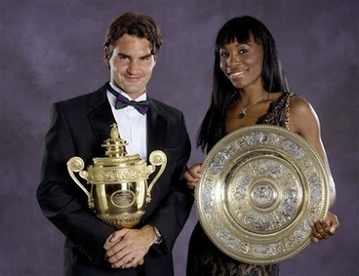 "Champions Roger Federer and Venus Williams pose with their trophies at Champions' Dinner at London's Savoy Hotel, Sunday July 8, 2007. ""I was really motivated because no one picked me to win. They didn't even say, 'She can't win.' They weren't even talking about me,"" said Williams, who reached No. 1 in 2002 but entered Wimbledon ranked No. 31. ""I never would doubt myself that way.""   (AP Photo/Bob Martin, AELTC pool)"
