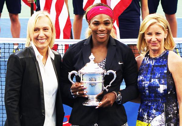 2014 US Open: Serena ties Chris Evert and Martina Navratilova with  18 Grand Slam titles.