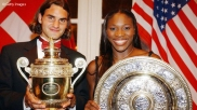 2003 Wimbledon: Serena beat Venus for the title and stood with first-time major winner Roger Federer.