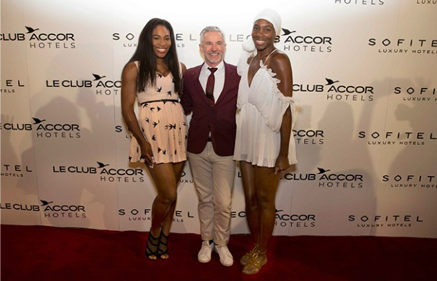 """Tennis Royalty meet Film Royalty"" Ahead of the 2015 Australian Open: World #1, Serena Williams hosted an exclusive event at Sofitel Melbourne On Collins for members of Le Club Accorhotels, the global loyalty program of AccorHotels, in an impromtu cooking challenge with sister Venus Williams and surprise guest judge, 'Strictly Ballroom' director Baz Luhrmann."
