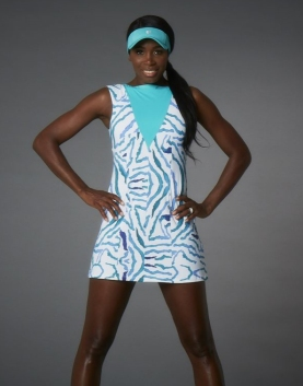 Venus wearing the Ola dress, part of her 2015 EleVen by Venus Williams collection.